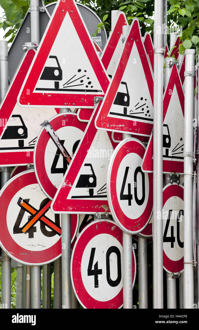 Road signs, many, in of a mess, red, signs, sign chaos, jungle road signs, traffic, icon, traffic, traffic sign, - Stock Image