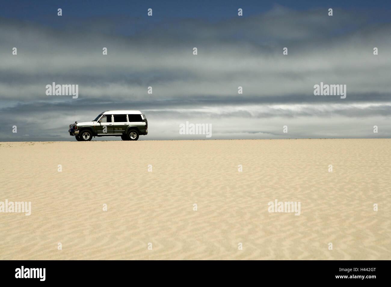 Namibia, Walvis bay, dune 7, offroad car - Stock Image