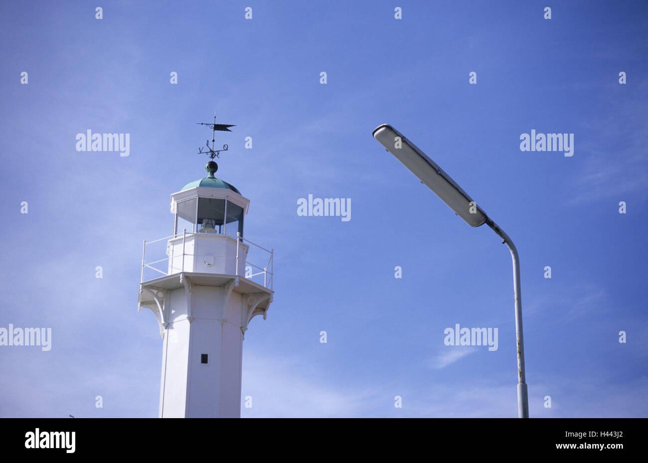 Denmark, Bornholm, Running, Lighthouse, Beacon, Sea figure, Navigation, Orientation, Lamp, Street lamp, Neon, Contrasts, - Stock Image