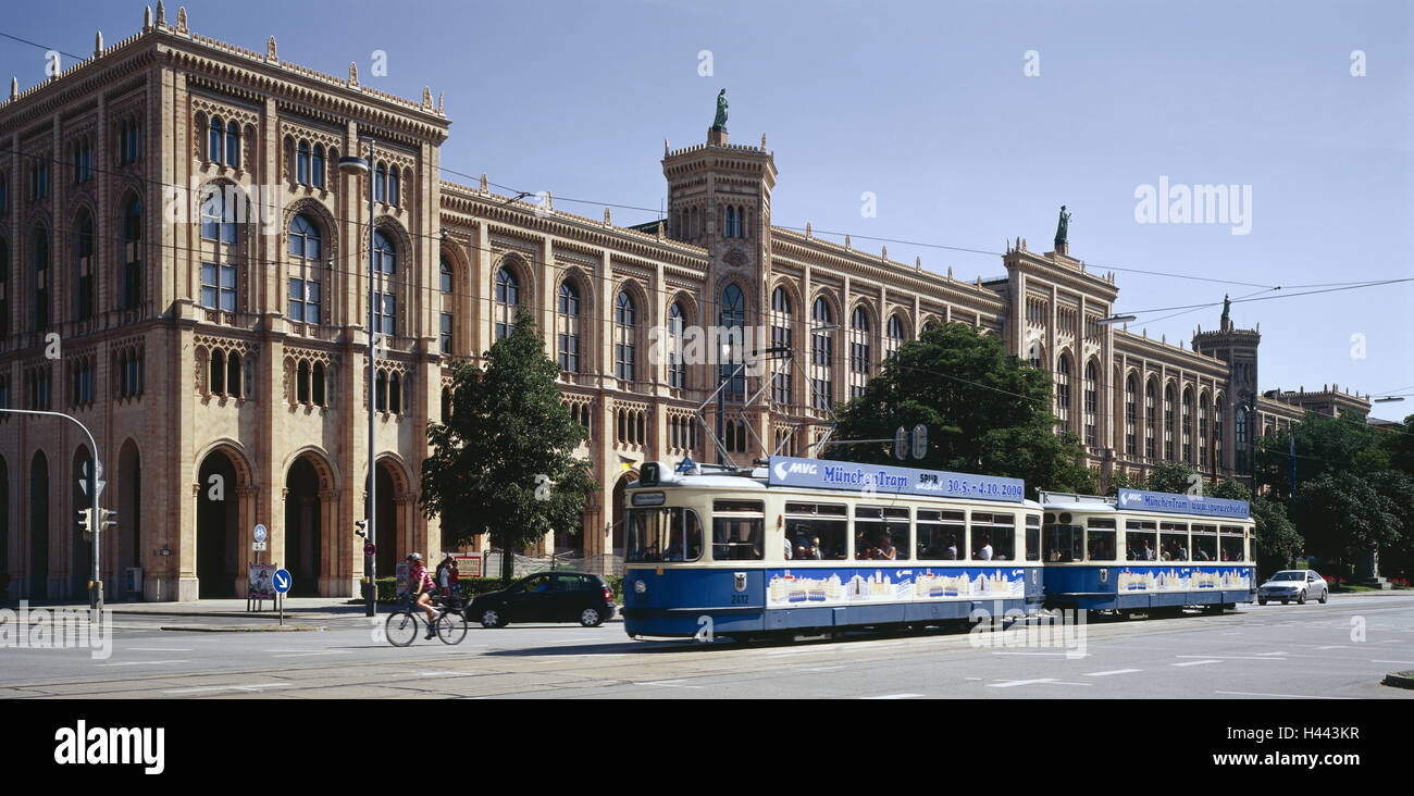 Germany, Bavaria, Munich, Maximilianstrasse, government building, government Upper Bavaria, tram, Upper Bavaria, - Stock Image