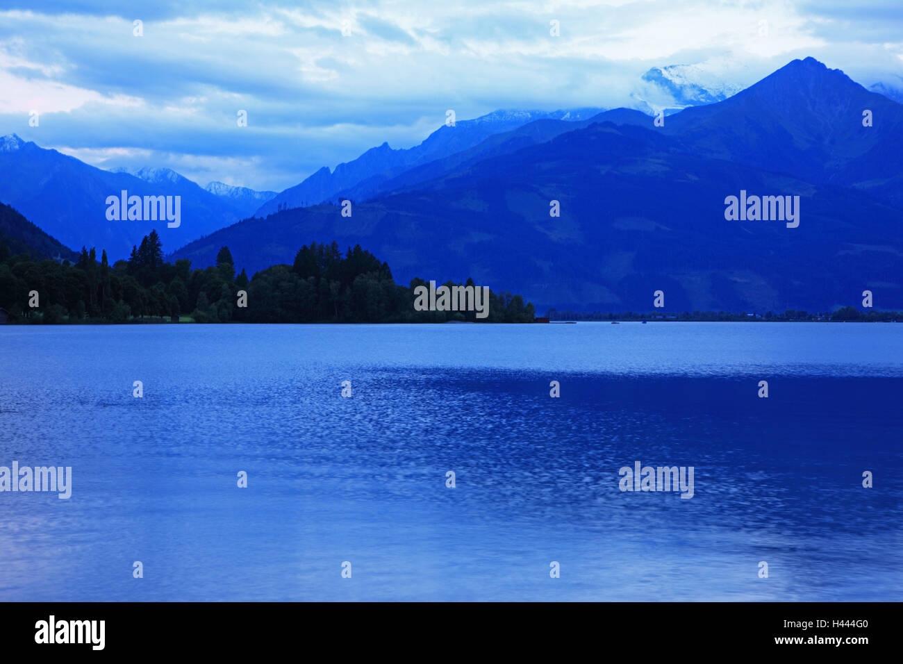 Austria, Zell in the lake, blue hour, Stock Photo