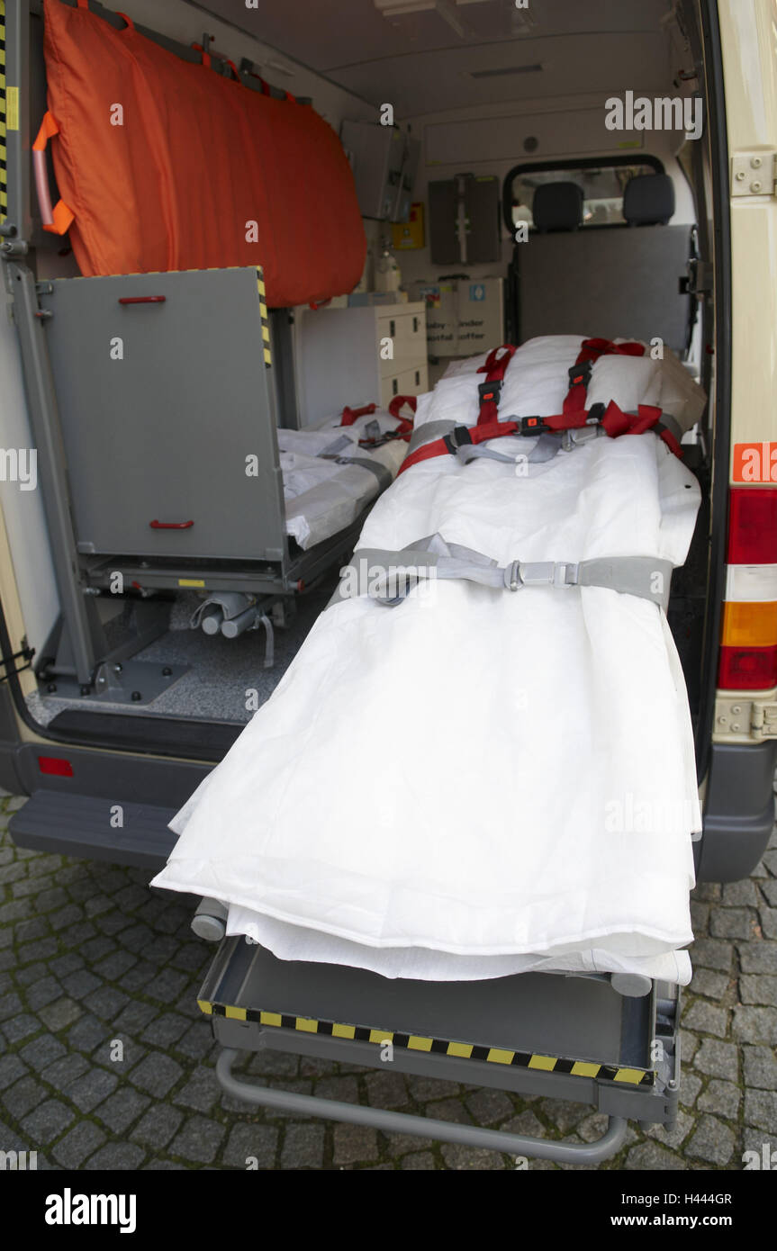 Ambulances, outpatients, couch, stretcher, nobody, from the back, - Stock Image