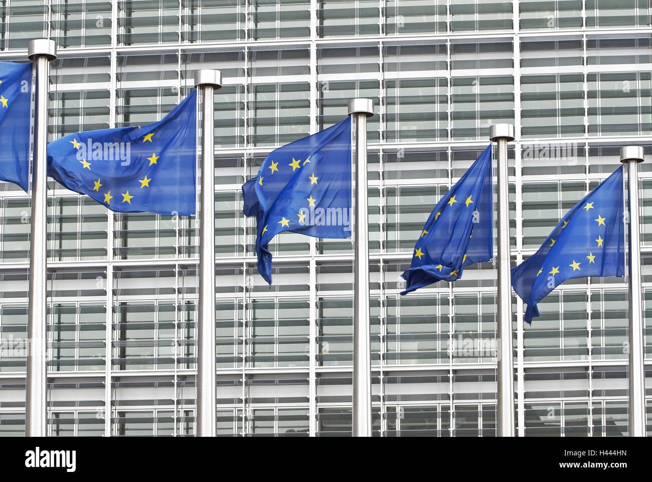 European flags, blowing, Berlaymont building, Belgium, Brussels, - Stock Image