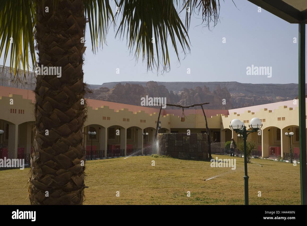 Saudi Arabia, Al-Ula, hotel 'Al Ula', inner courtyard, well, hotel, hotel facility, meadow, ornamental well, - Stock Image