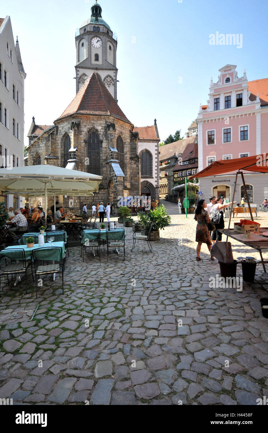 Church Our Lady, street cafe, marketplace, Meissen, Saxon, Germany, - Stock Image