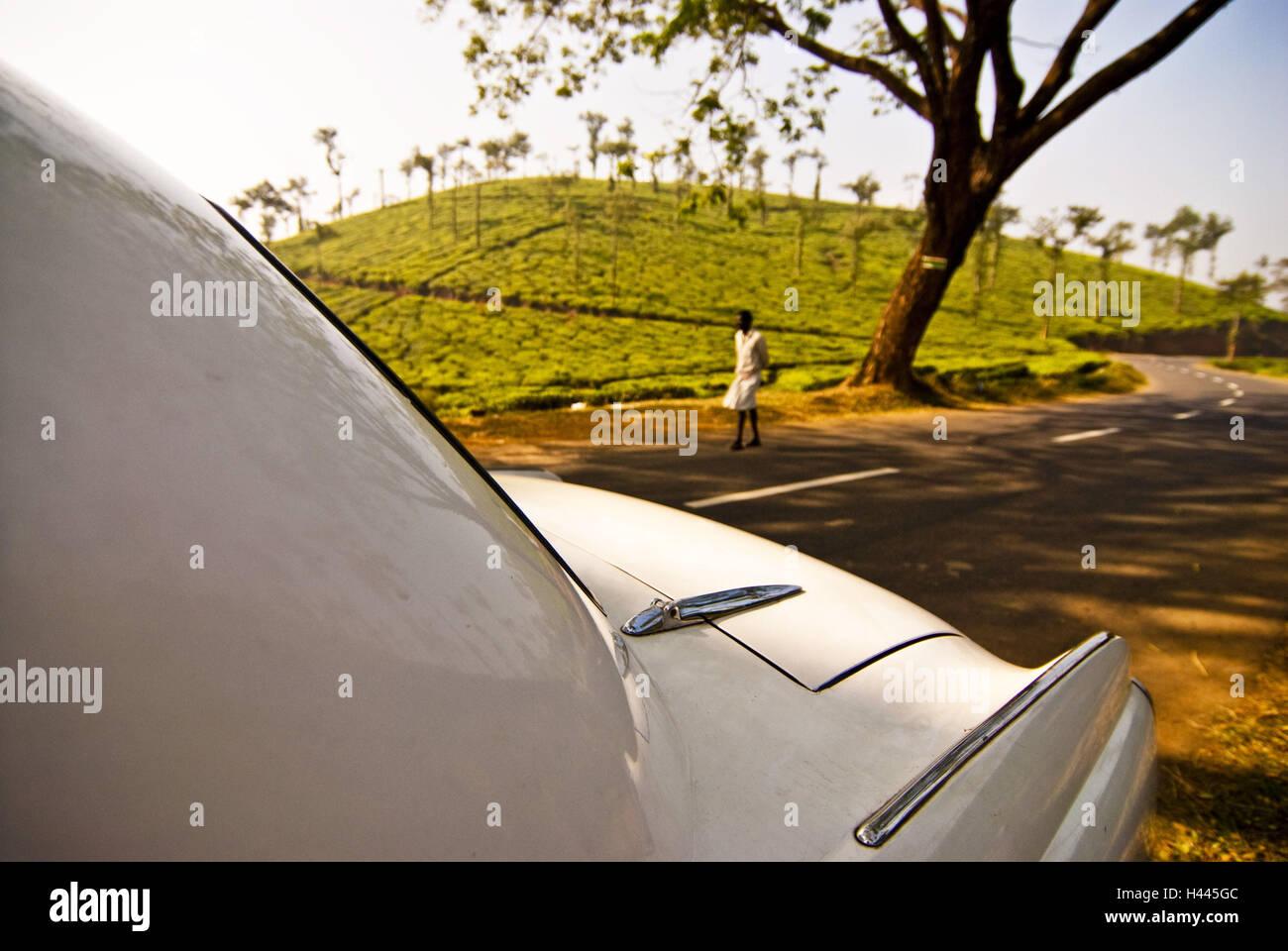 Street, car, Hindustan Ambassador, white, detail, - Stock Image