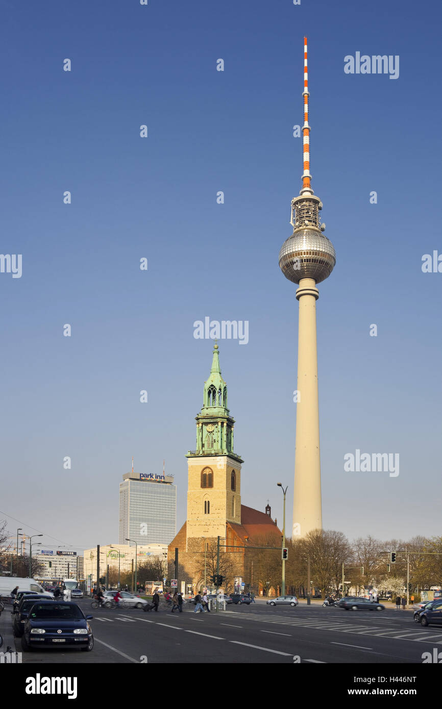 Germany, Berlin, television tower, Marien's church, - Stock Image