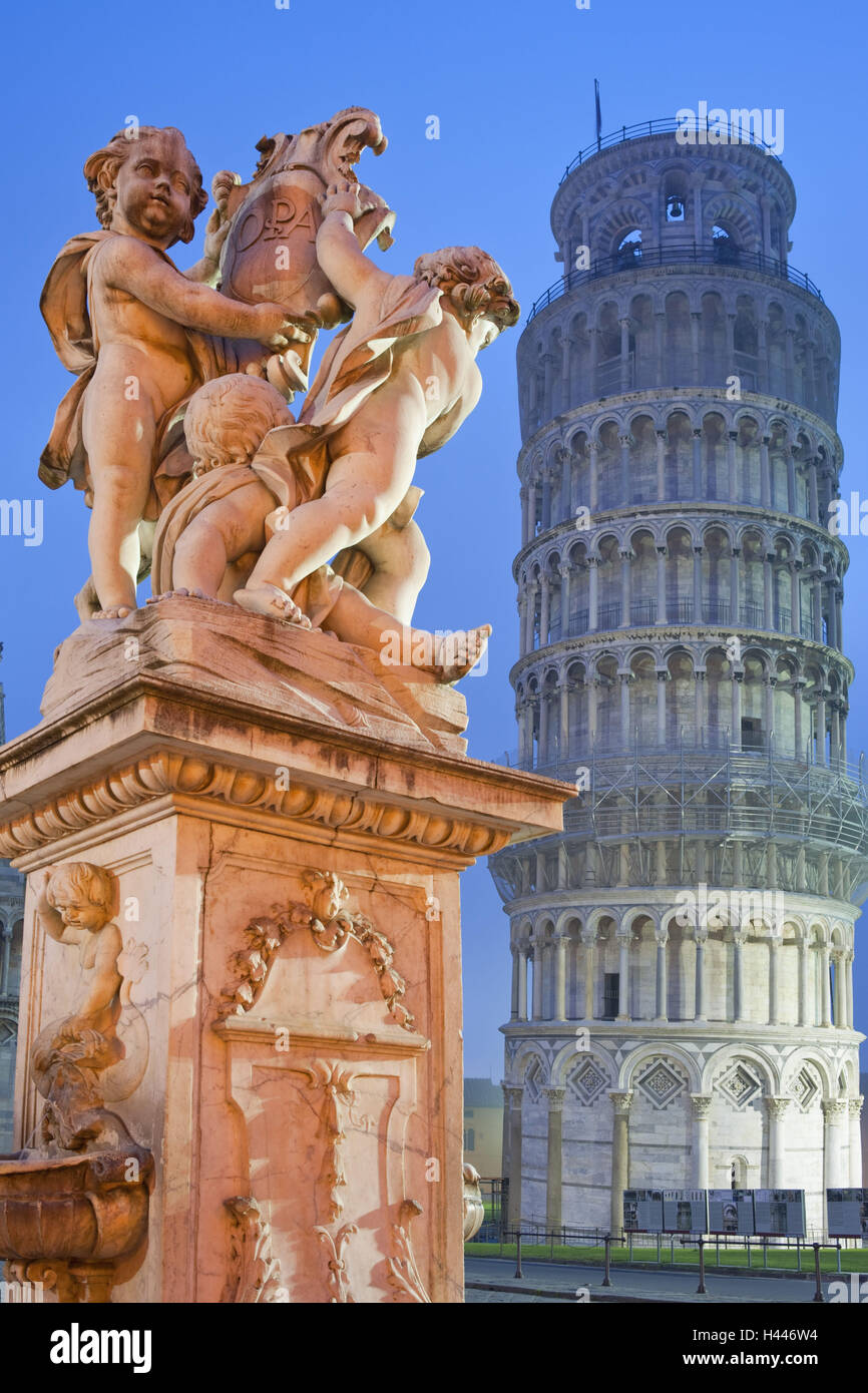 Italy, Tuscany, Pisa, oblique tower, pillar, angel's figures, lighting, dusk, - Stock Image