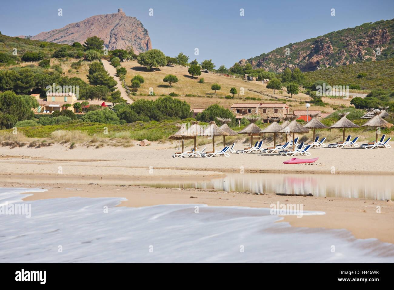 France, Corsica, beach, Capu Rossu, pest d'Arone, display screens, - Stock Image