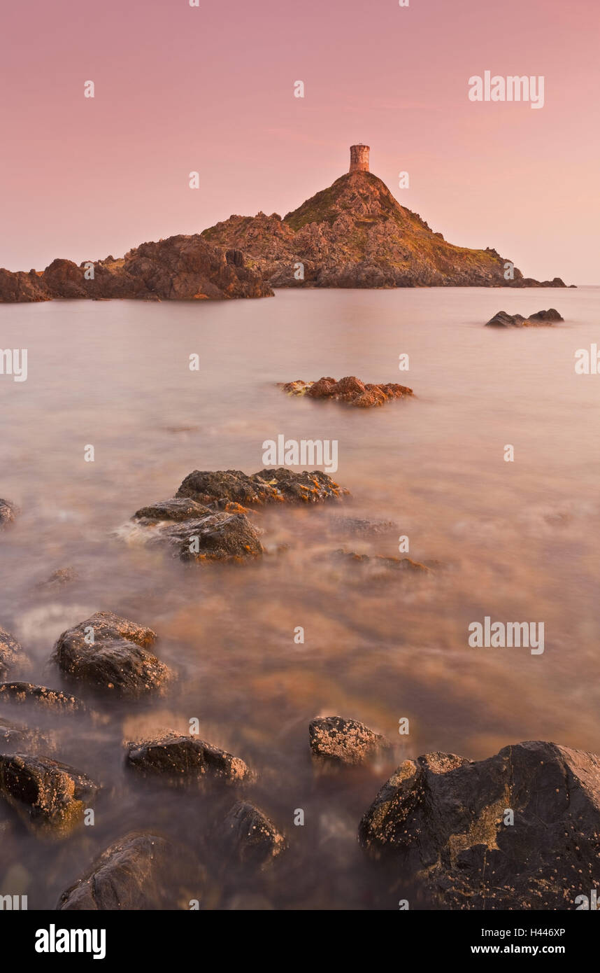 France, Corsica, point de la Parata, tower, coast, evening light, - Stock Image