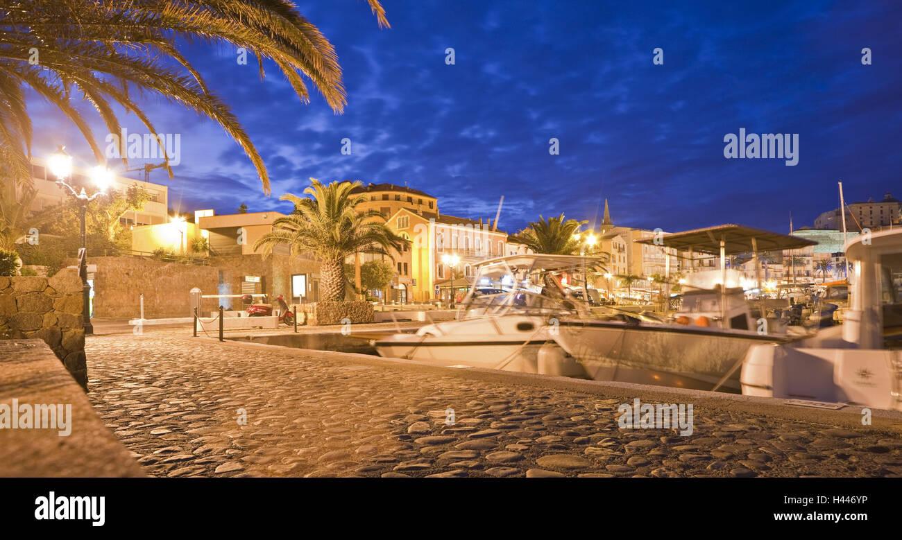 France, Corsica, Calvi, town view, harbour, lighting, evening, - Stock Image
