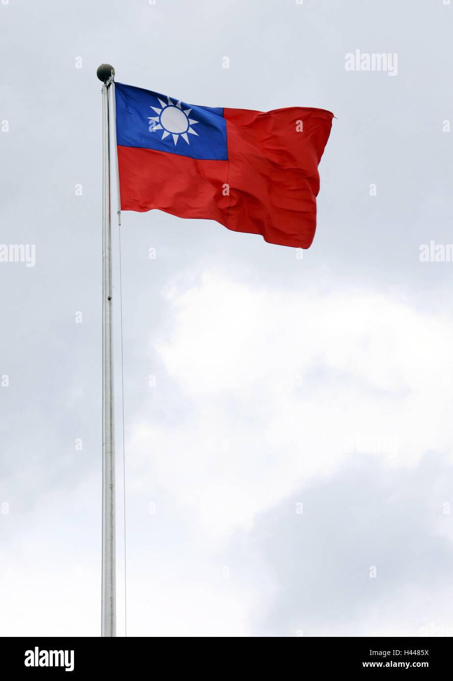 Flag, heaven, clouds, Taipeh, Taiwan, - Stock Image