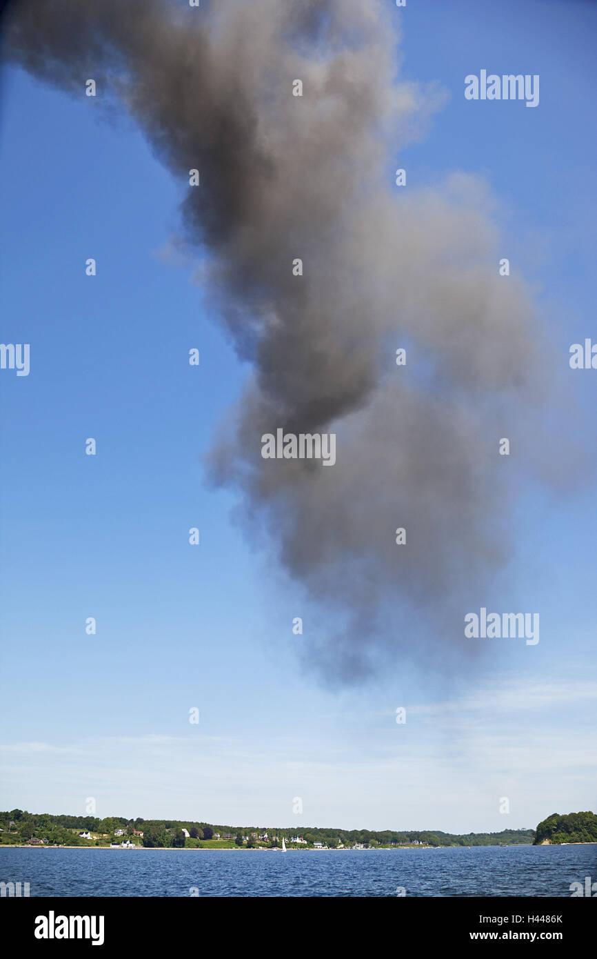 Smoke of a steamboat, - Stock Image