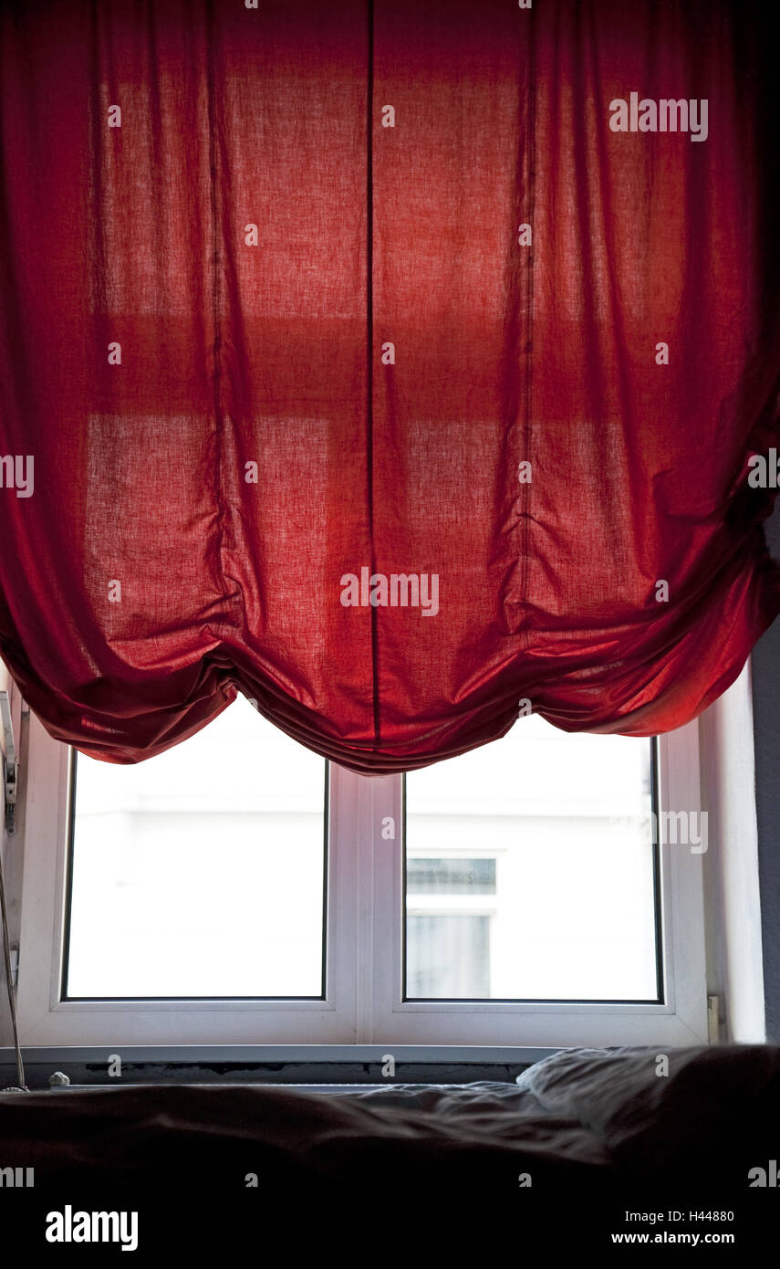 Window, red curtain, - Stock Image