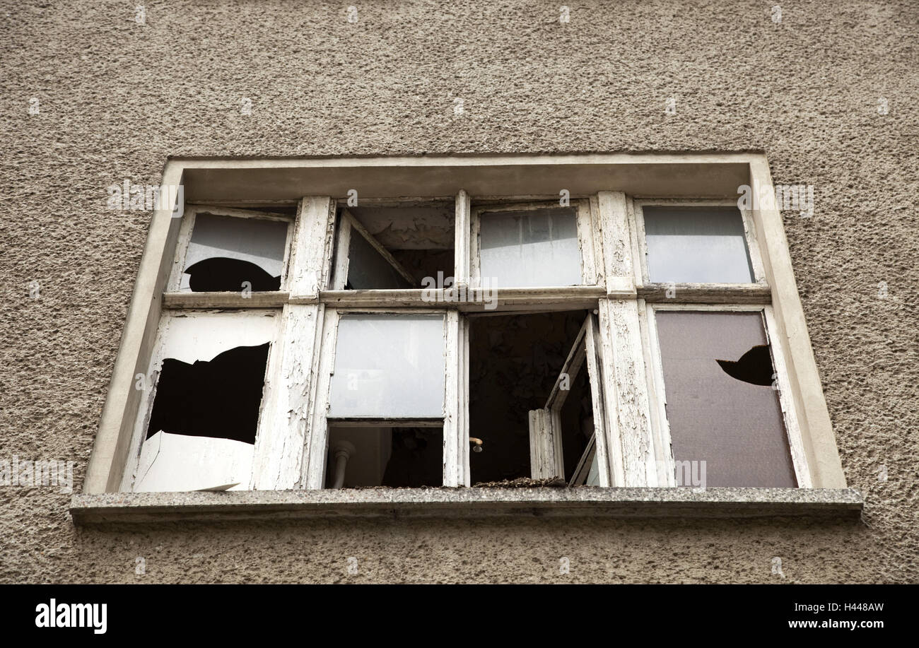 House, old, unoccupied, window, smashed, - Stock Image