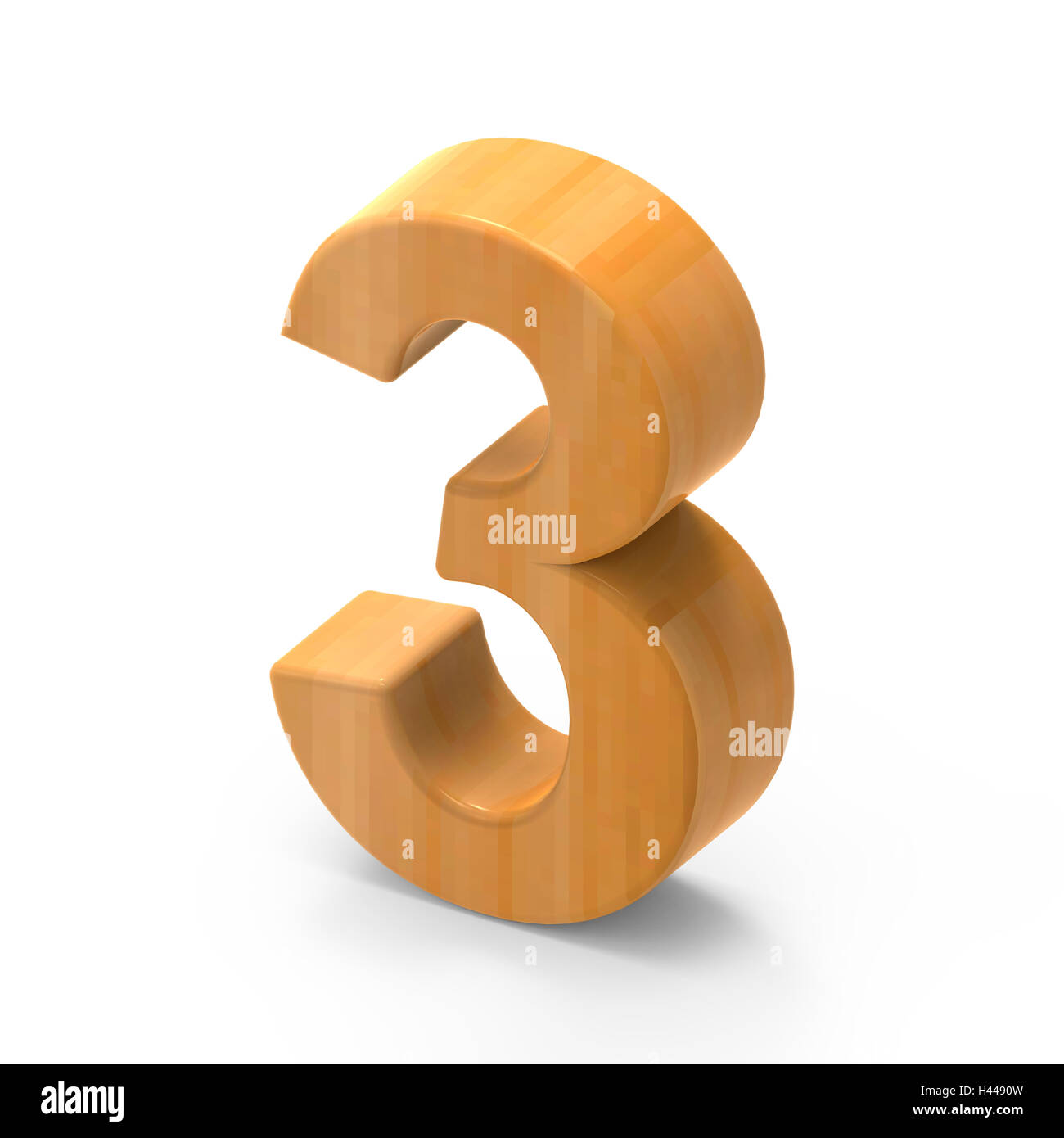 3D rendering white number 3 isolated on white background, light brown wooden grain, right side top view number - Stock Image