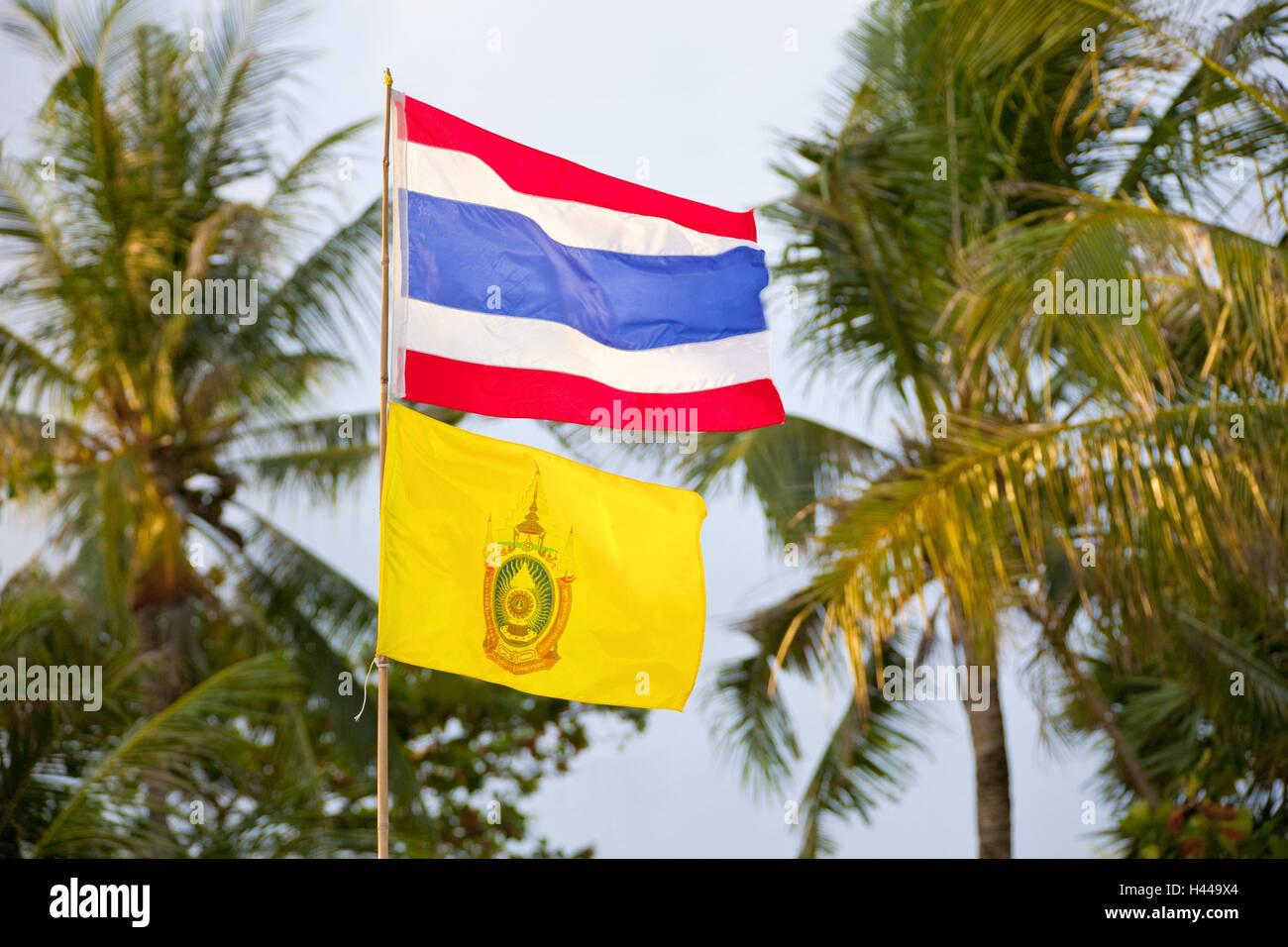 Thailand, island Phuket, palms, flagpole, state flag, king's flag, - Stock Image