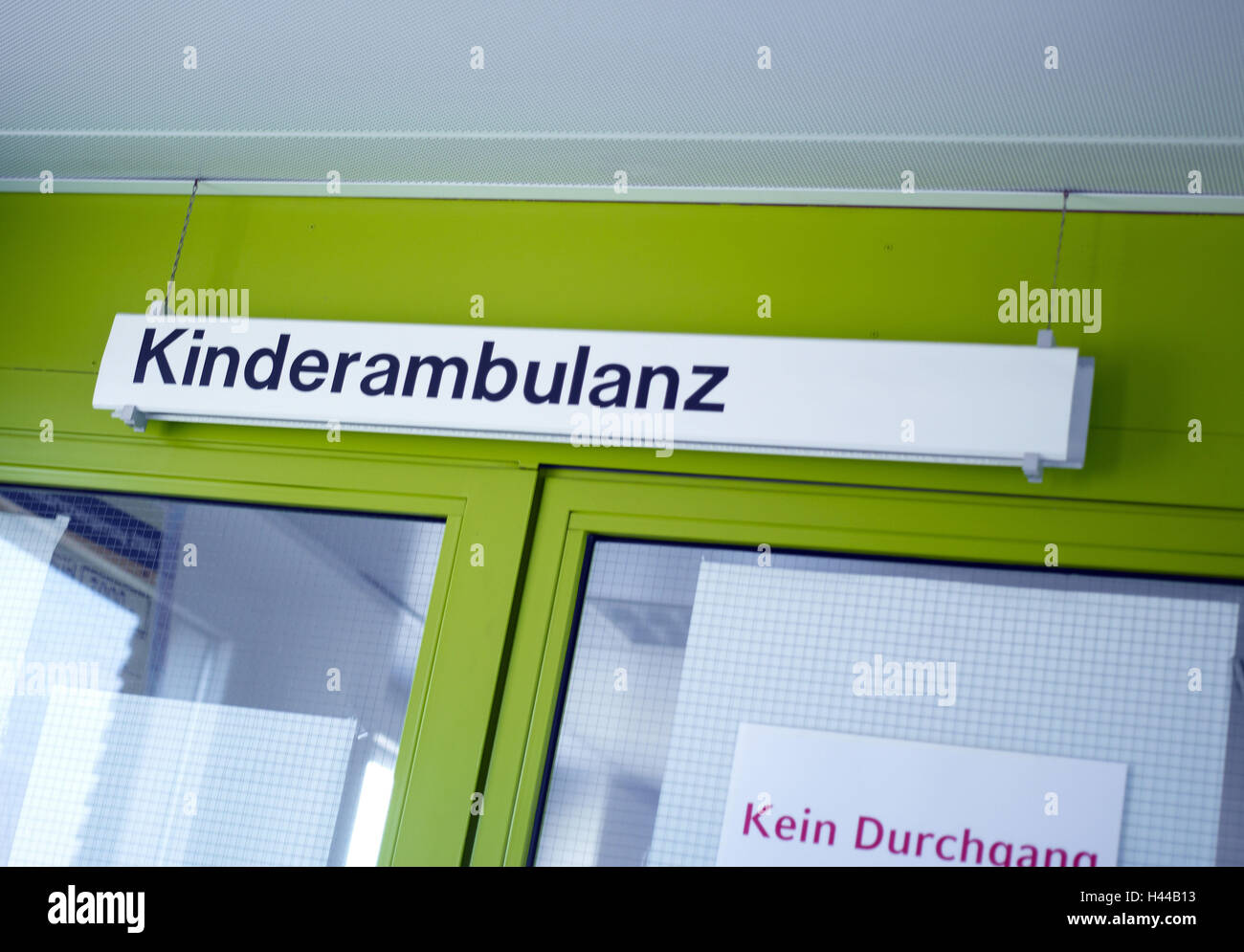 children's outpatients clinic, sign, patient's information, - Stock Image