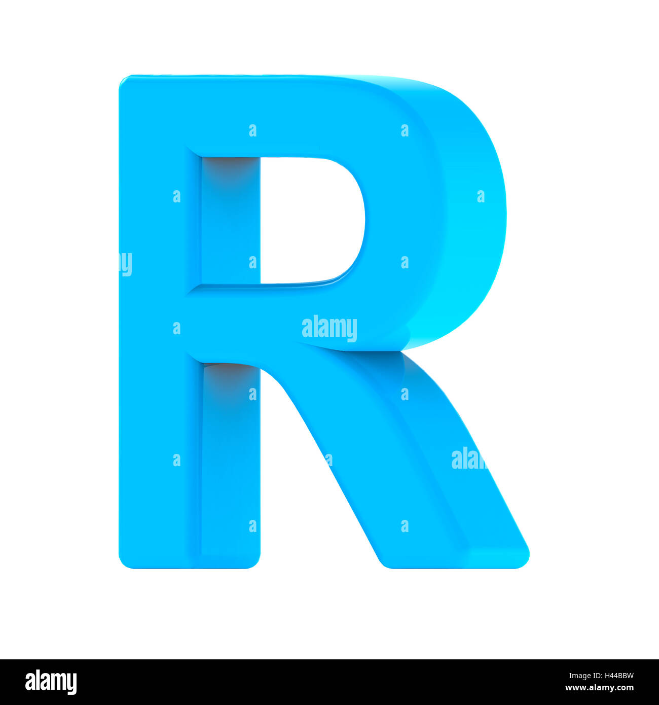 3d Right Leaning Light Blue Letter R 3d Rendering Graphic Isolated