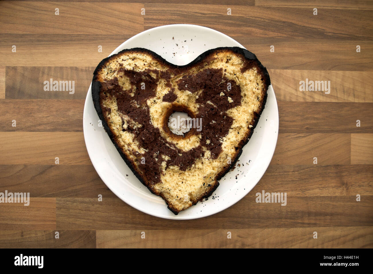 Cake, marble cake, herfzörmig, heart, heart form, icon, love, Valentinstag, marbles, baked, hole, crumb, cake - Stock Image
