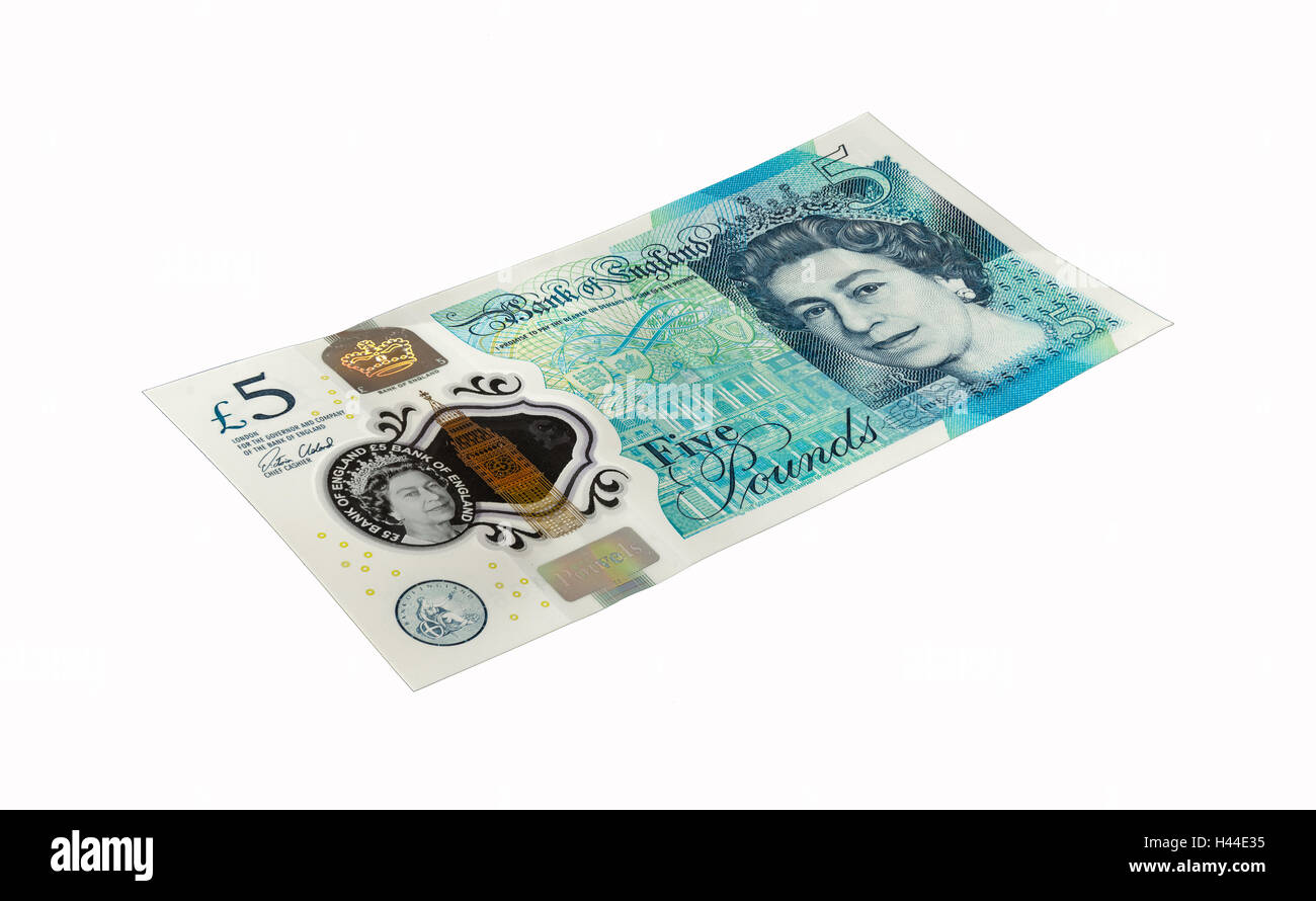 The front of new 'Fiver' five pound note from the Bank of England. Isolated on a white background. Stock Photo