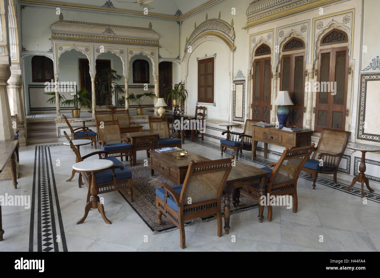 India, Rajasthan, Jaipur, architecture, lobby, seat groups, - Stock Image
