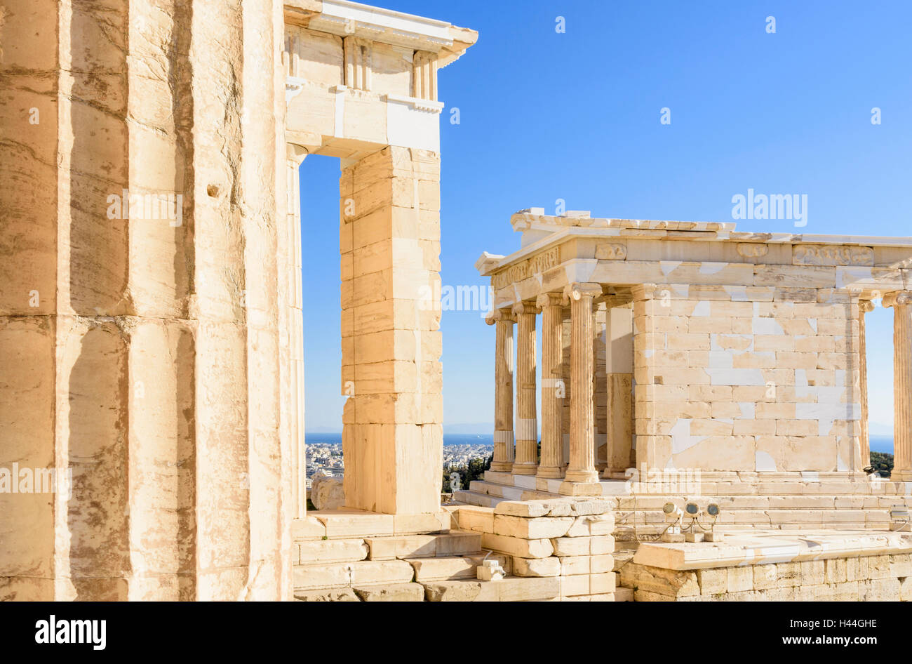 Detail of the Propylaea and the Ionic Temple of Athena Nike on the Acropolis, Athens, Greece Stock Photo