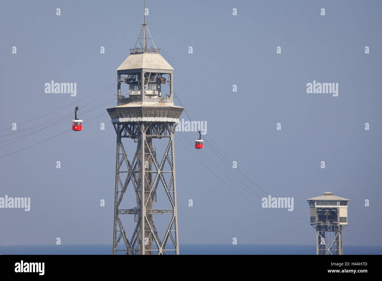 Spain, Catalonia, Barcelona, Torre Jaume I, cable car, - Stock Image