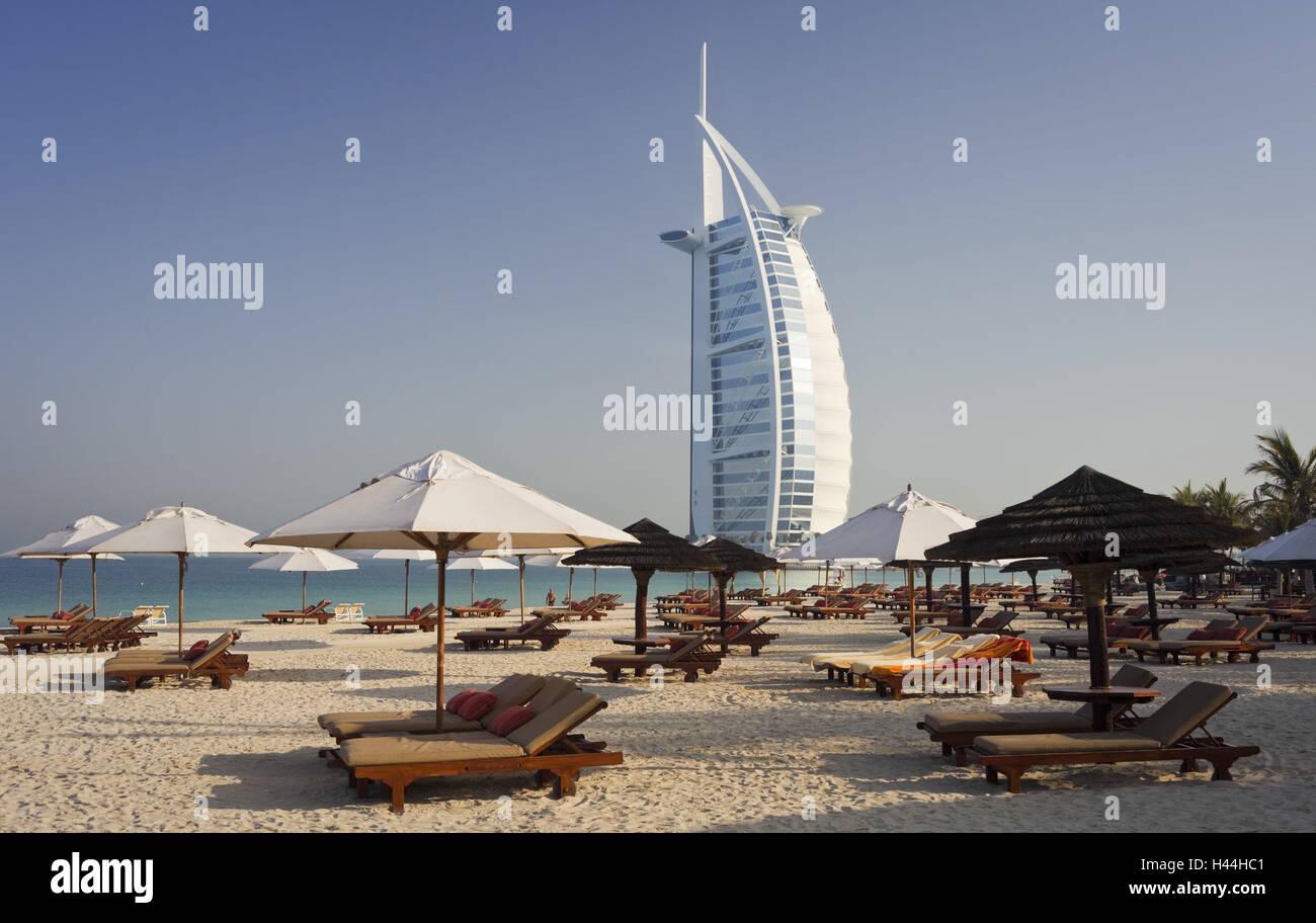 United Arab Emirates, Dubai, Burj Al Arab, Jumeirah Beach, beach, - Stock Image