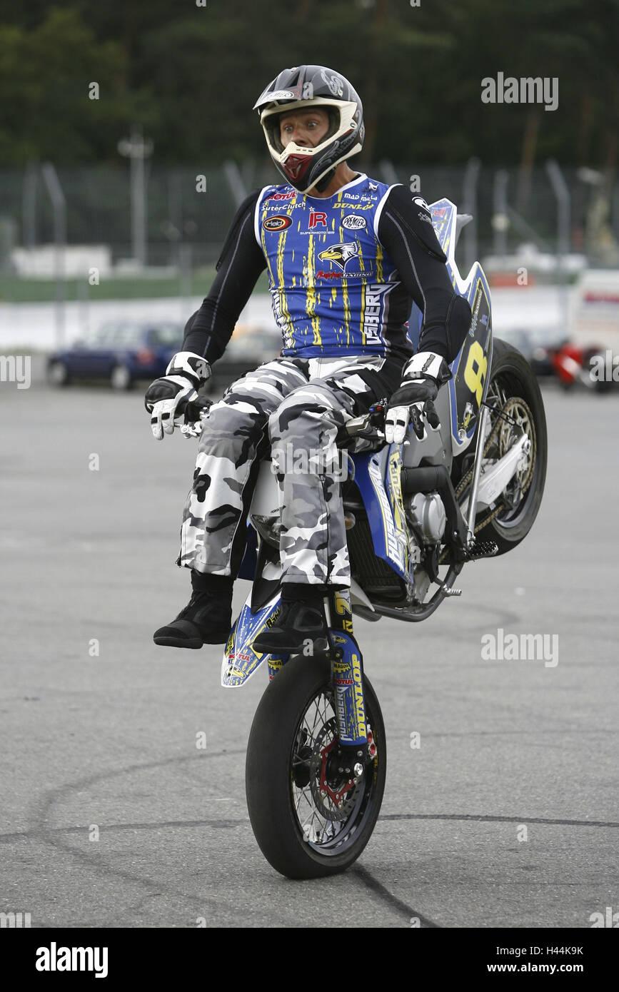 Jo Bauer, motorcycle, stunt driver, Wheelie, - Stock Image