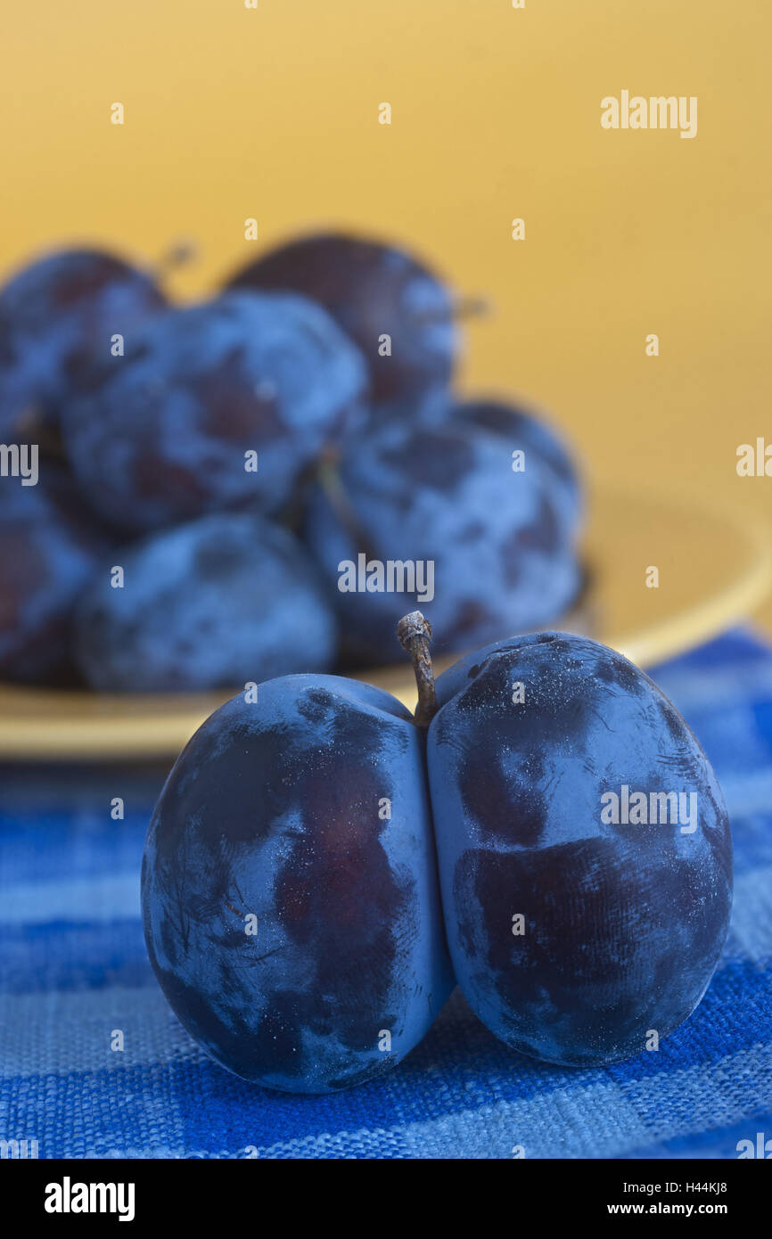 Plums, consolidated, fruit, stone fruit, fruits, plums, freshly, ripe, medium close-up, - Stock Image