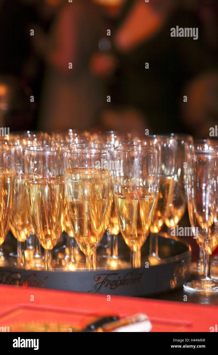 Locally, champagne glasses, - Stock Image