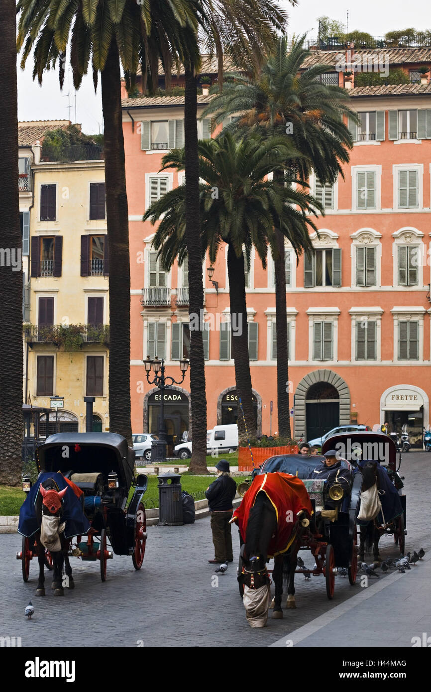 Italy, Rome, Piazza Tu Spagna, horse's carriages, - Stock Image