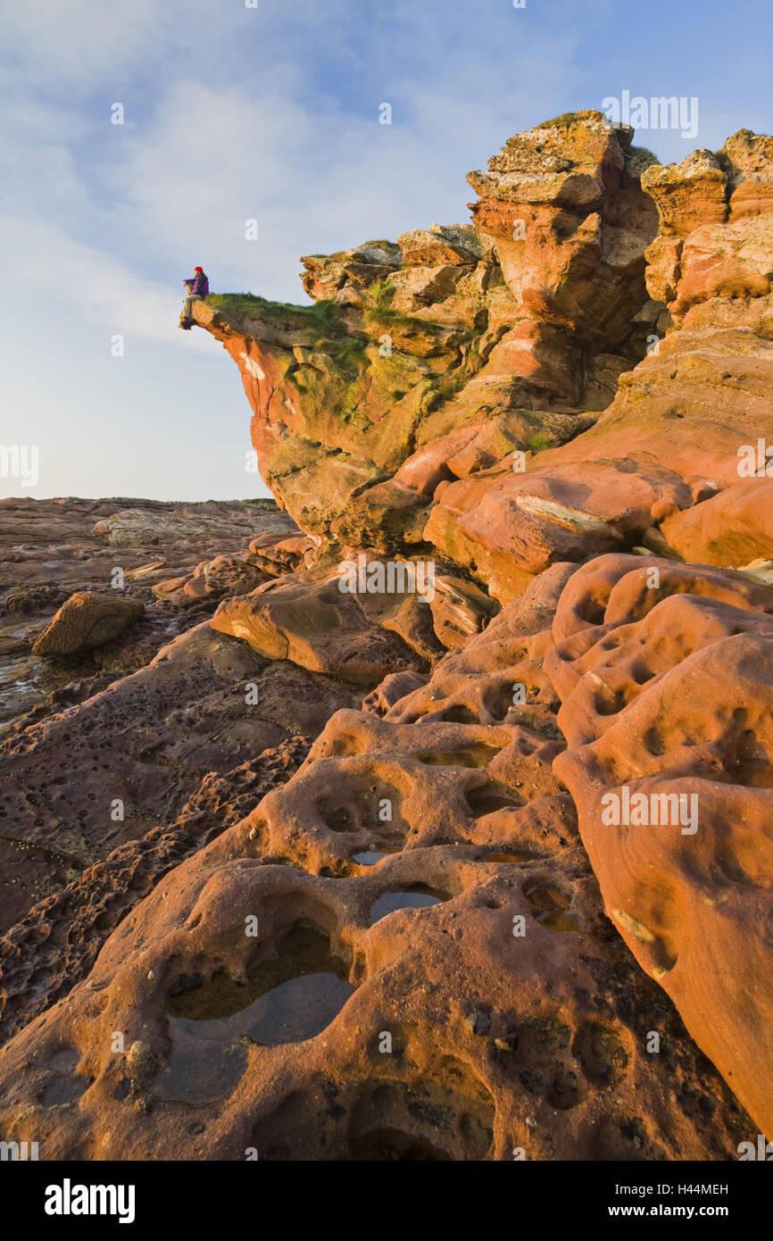 Great Britain, Scotland, bile coast, rock, tourist, sit, evening light, - Stock Image