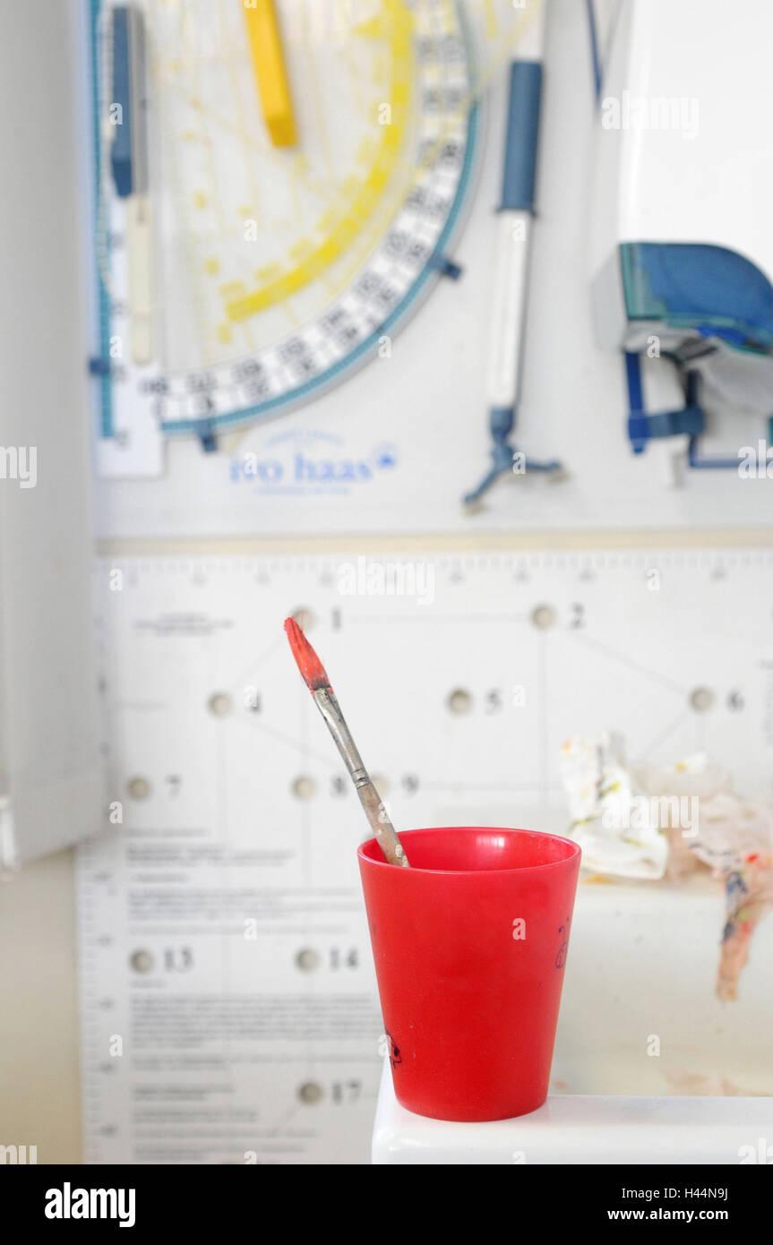 School, lessons, geometry, red mug, brush, rulers, Stock Photo