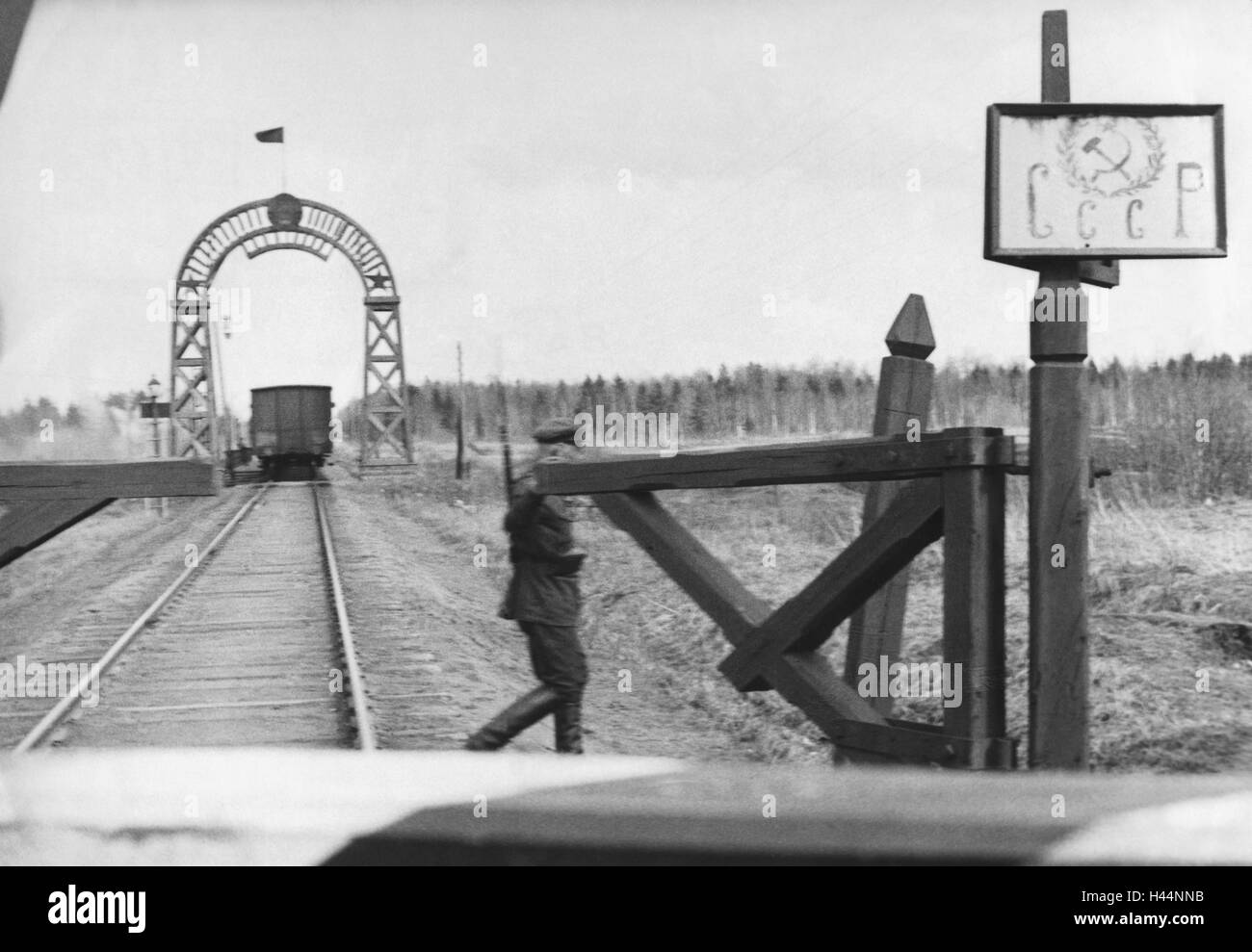 Train, wagon, view tracks, border, Soviet Union, border guard, Eastern Europe, the Soviet Union, SSSR, CCCP, trackage, - Stock Image