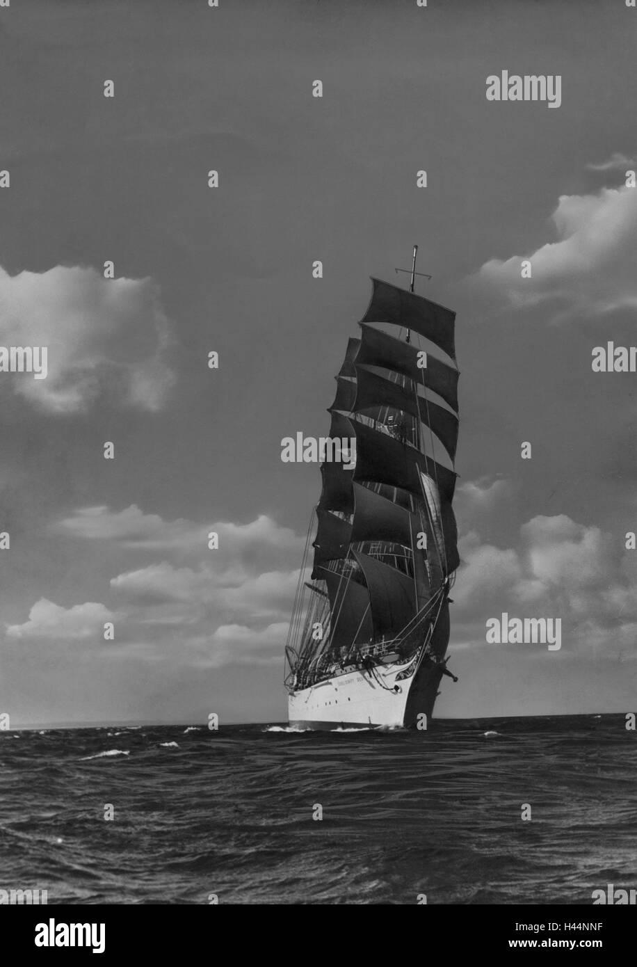 Sea, 'school ship Germany', journey, b/w, navigation, sailing ship, sail school ship, great yachtsman, full - Stock Image
