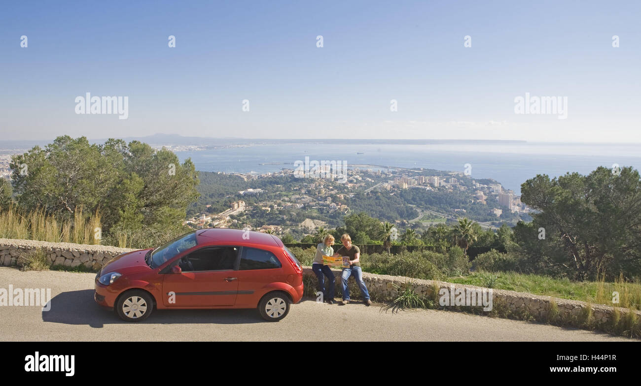 Spain the Balearic Islands island Majorca tourist couple sit