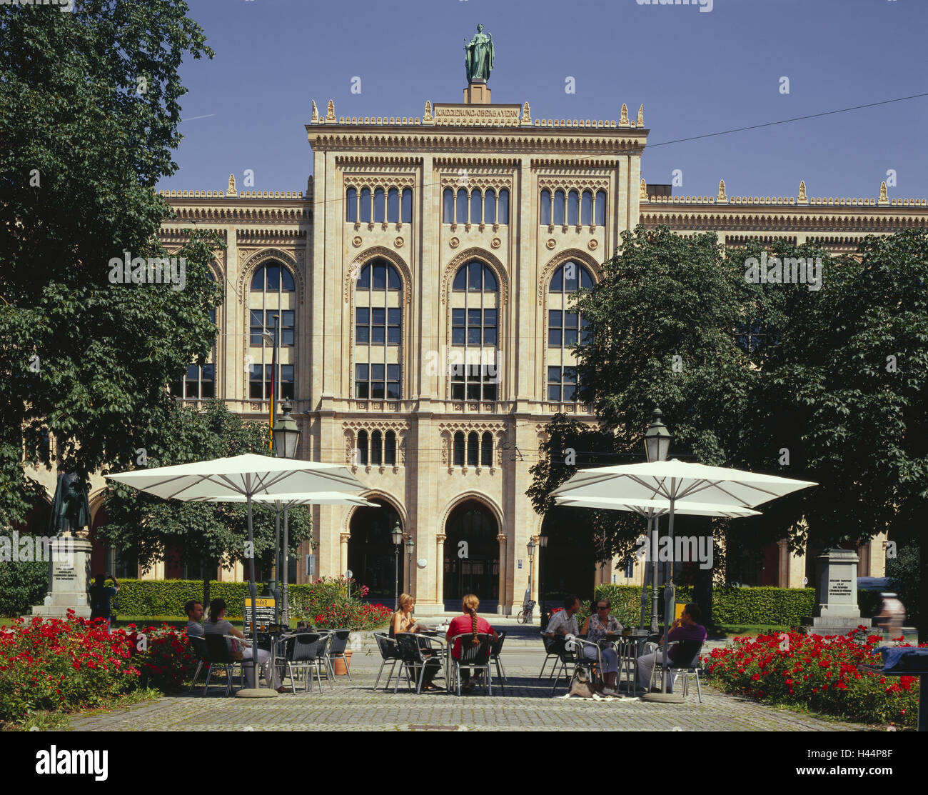 Germany, Bavaria, Munich, Maximilianstrasse, government building, government Upper Bavaria, cafe, outside, Upper - Stock Image