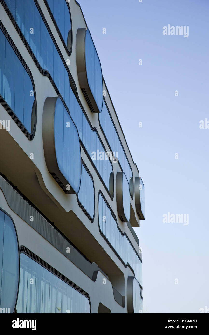 House, facade, modern, detail, outside, architecture, structure, Germany, building, office building, Hamburg, new - Stock Image