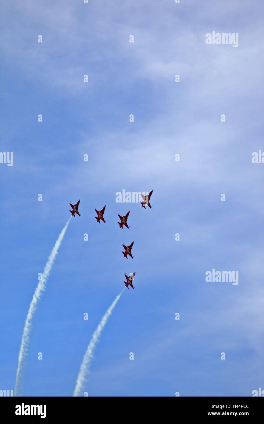 Cloudy sky, flight show, airplanes, from below, - Stock Image