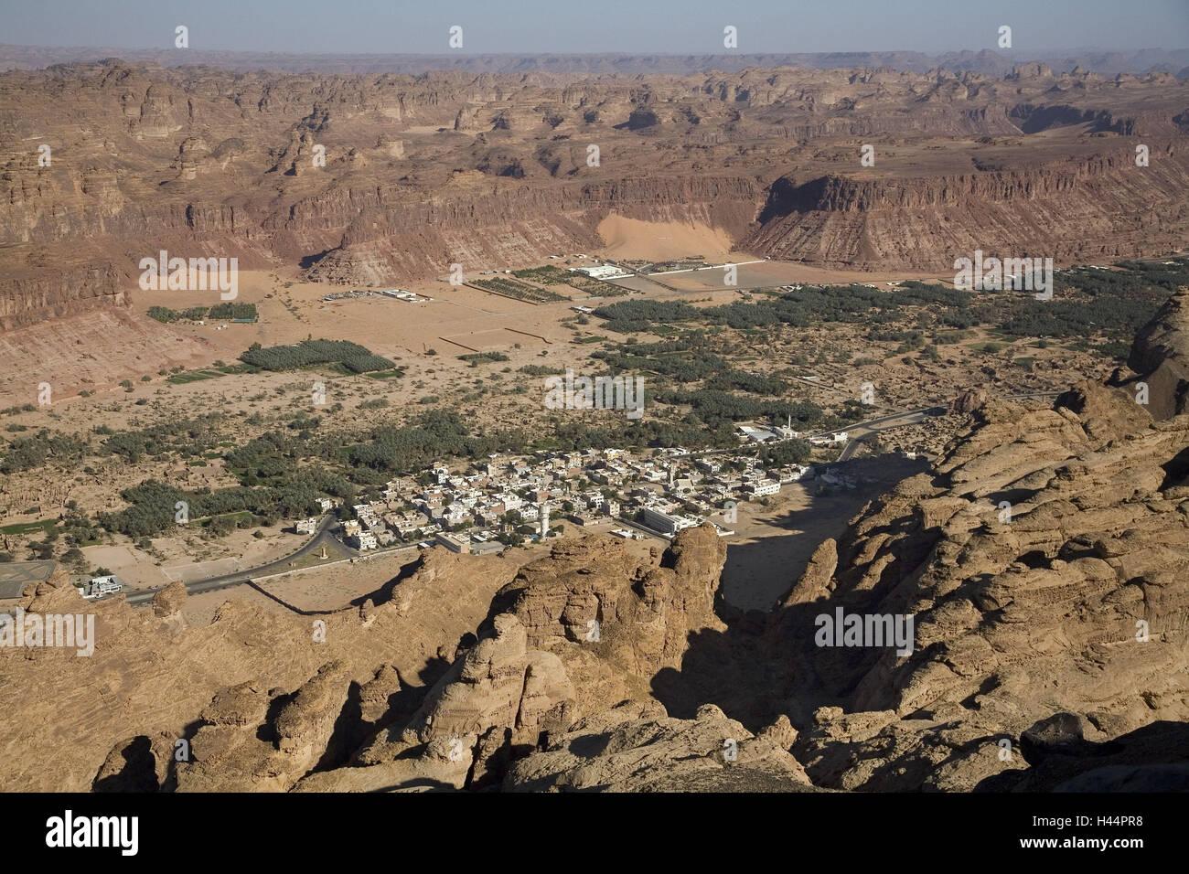 Saudi Arabia, province Tabuk, provincial town Al Ula, aerial shots, - Stock Image