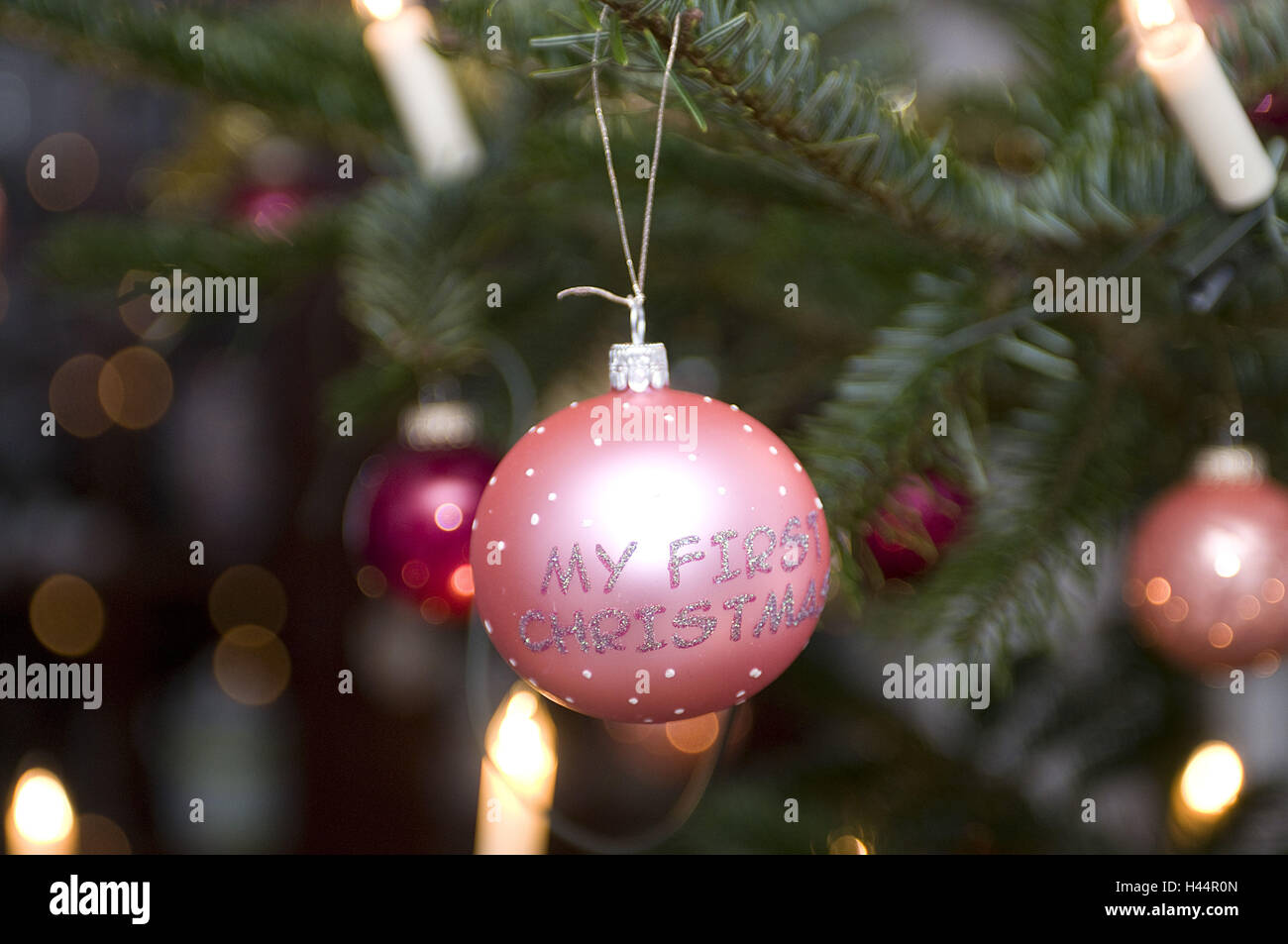 Christmas sphere, stroke, silver, pink ones, - Stock Image