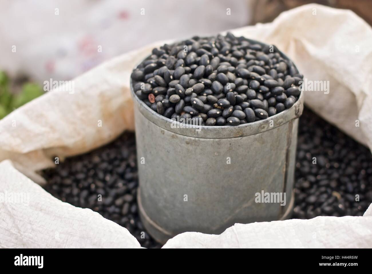 Black bean in can bag at the market - Stock Image