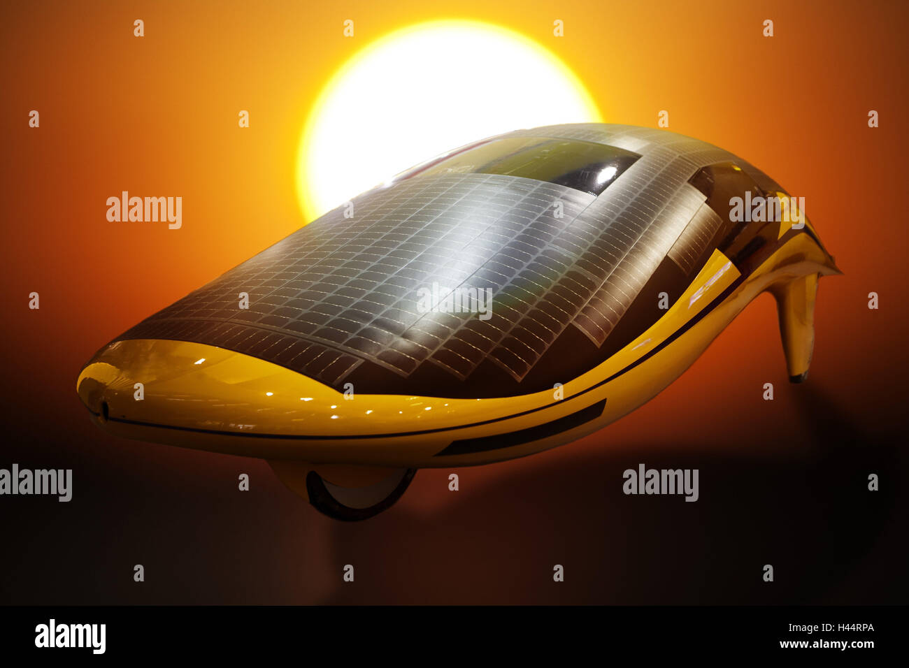 Electromobile with solar collectors, futuristic, - Stock Image