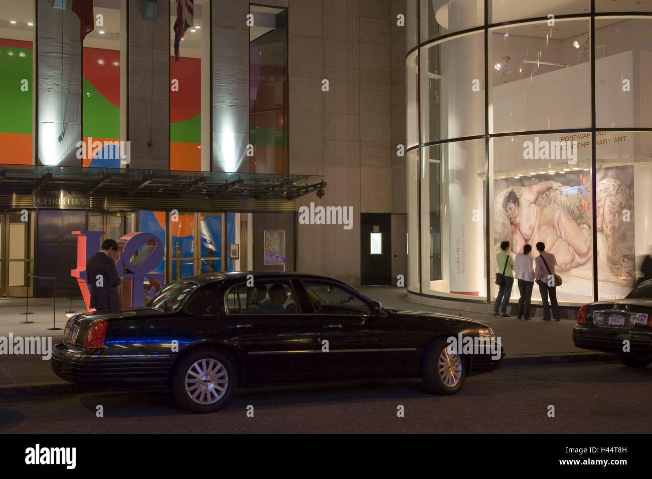 The USA, New York city, Christie's Gallery, outside, tourists, North America, town, Midtown, gallery, art, painting, - Stock Image