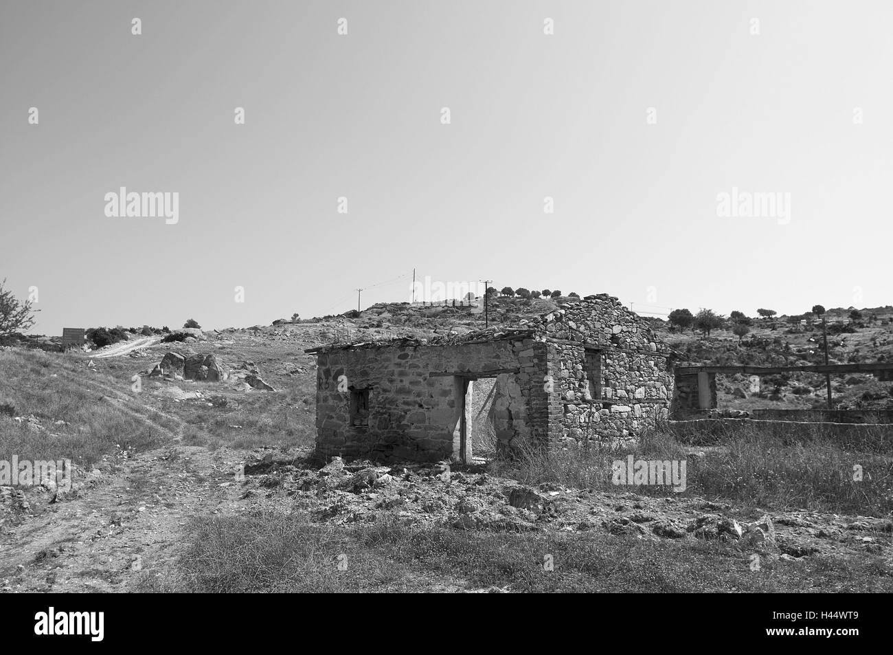 Scenery, ruins, b/w, , - Stock Image