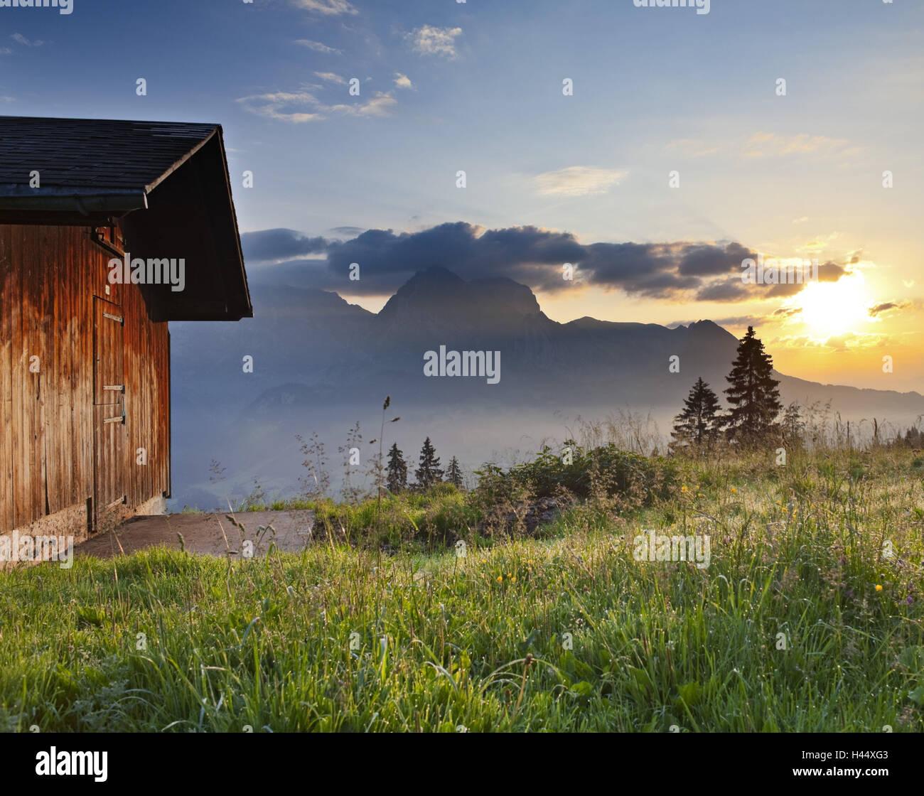 Switzerland, St. Gallen, Ober Toggenburg, hut, alpine grassland, Stock Photo