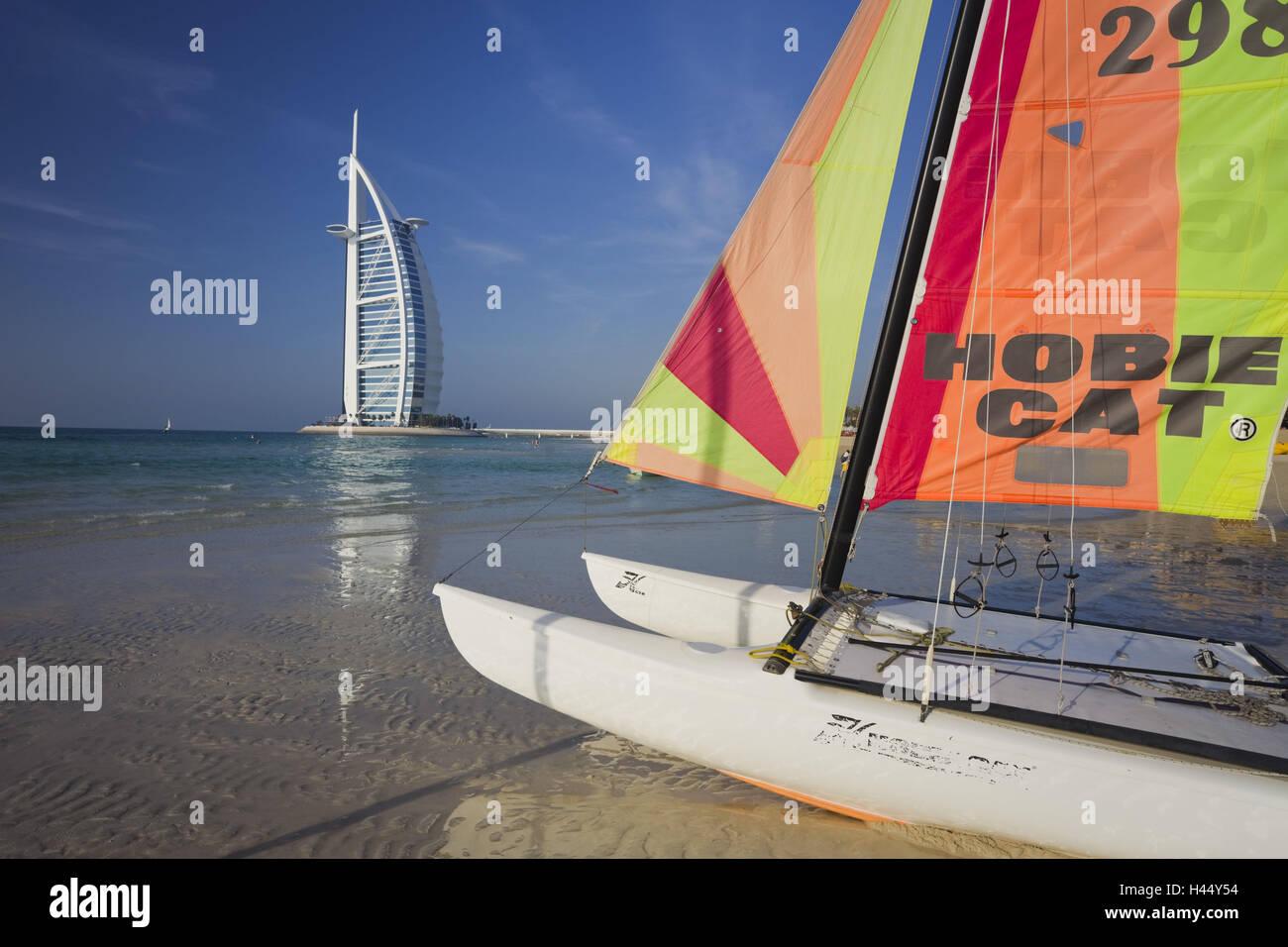 United Arab Emirates, Dubai, Burj Al Arab, Jumeirah Beach, beach, catamaran, - Stock Image