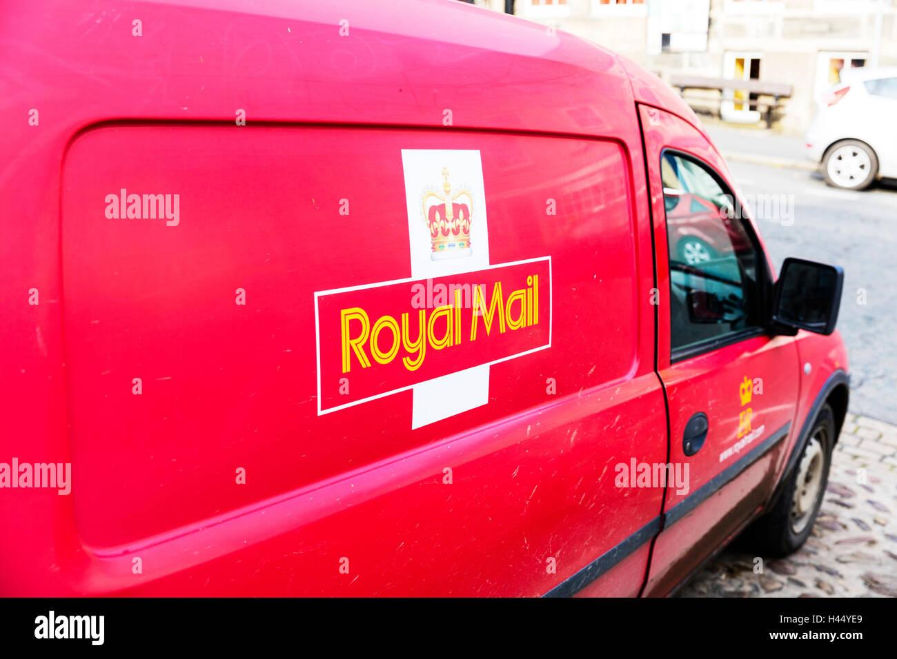 Royal mail van name insignia emblem motif vehicle delivery vans vehicles UK England GB - Stock Image